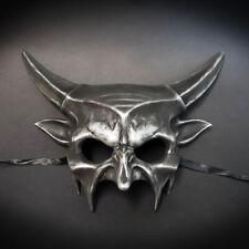 Devil Demon Horn Masquerade Mask Halloween Costume Mask Black Silver M39045