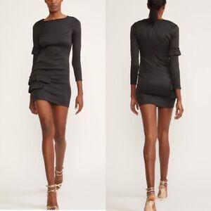 Cynthia Rowley Aeris Satin Ruffle Mini Black Coktail Dress Size 8