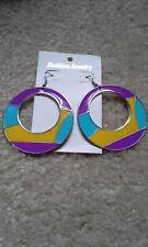 "Fashion Earrings Jewelry 3"" Purple New Round Colorful Hoop Lightweight Ladies"