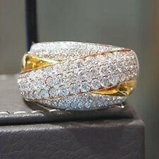 Women Jewelry 14K Yellow Gold Filled White Sapphire Ring Wedding Gift Size 9