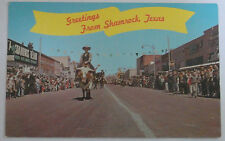 1970'S PHOTO POSTCARD GREETINGS FROM SHAMROCK TEXAS ST PATRICKS DAY PARADE