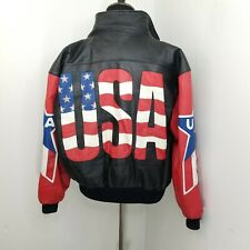 Michael Hoban Vintage Leather Jacket WhereMi USA Spell Out Mens Large