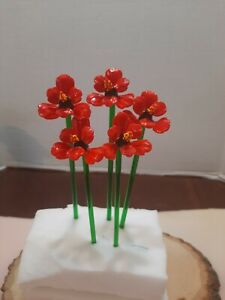 5 Art Glass Flowers Venetian Figurines Home Decor Murano Style #1 Red Orchid
