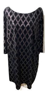JH Evenings black velvet silver diamond pattern shimmery dress 24W 1/4 Sleeves