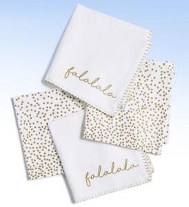 Set of 4 - Homewear Linens FA LA LA LA Holiday SPARKLE Napkins
