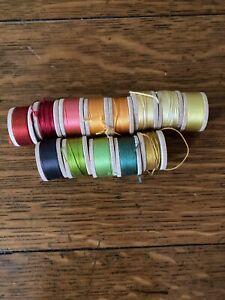 Belding Corticelli Buttonhole Twist Silk Thread 13 Spools Yellows, Reds, Greens