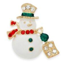 Gold-Tone Jeweled Snowman Pin #C228 Charter Club Holiday Lane Christmas Jewelry