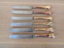 6 Ancien Couteau médaillon Monogrammé Argent Vermeil XIXe, Dessert Fruit Fromage