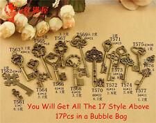 New 17 Pcs Bronze Vintage Keys STEAMPUNK CYBERPUNNK COGS GEARS DIY JEWELRY CRAFT
