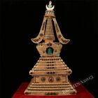 Old Tibet Buddhism Bronze Silver Gilt Filigree Inlay Gem Buddha s Relics Pagoda