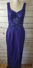 Alyce Designs Sz 6 Purple Beaded Formal Cocktail Long Dress