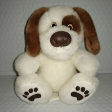 First & Main SIT UPS Puppy Dog Brown White 6in Sitting Plush Laux Leather Nose