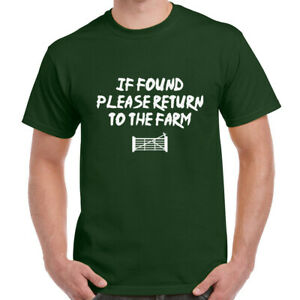 If Found Return To FARM Mens T Shirt Funny Farmer Clothing Gift Present Him Boys