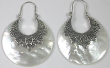 STERLING SILVER Large  Mother of Pearl Earrings  Statement Wedding Bridal