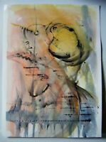"Original Unsigned Ink & Watercolour Abstract Painting ~15"" x 10"""
