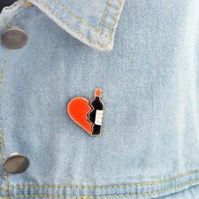 Enamel Pin Badges - Set of 2 - Broken Heart Wine Bottle - EB0051