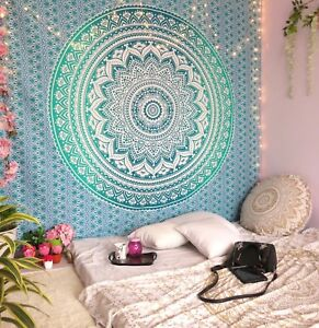 Tapestry Mandala Wall Blue Ombre Hanging Indian Hippie Bohemian Home Decor Queen