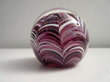 Gorgeous Mdina Malta Purple & White Glass Paperweight Signed