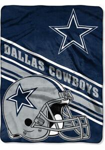 """Dallas Cowboys Twin 60"""" x 80"""" Northwest NFL Mens Royal Plush Raschel Throw"""