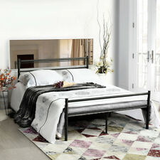 Black 4FT6 Double Metal Bed Frame NEW Stylish Sturdy Bedstead for Adult Children