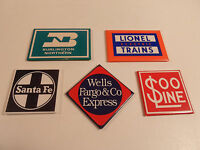 Railroad Magnets Lionel Trains Santa Fe Burlington Soo Refrigerator Vintage logo