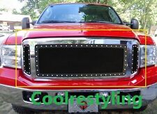 For 2005~2007 Ford F250 F350 SuperDuty Black Wire Mesh Rivet Stud Grille Inserts