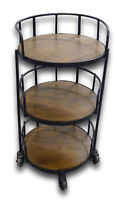 Round 3 Tier Tea Bar Cart Serving Trolley with 4 Wheels Side Table Acacia Wood