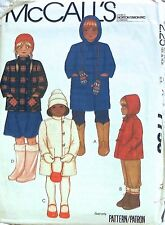 McCall Pattern 7758 Childs Girls Hooded Lined Coat Jacket Hoody Toggle Button 12