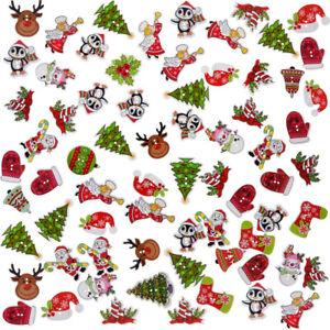 50Pcs Christmas Craft Scrapbooking Sewing Santa Claus Deer Wooden Buttons 2 Hole