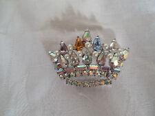 Lovely rhinestone, aurora borealis crown brooch