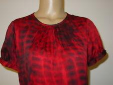 Alfani Petite Women's red black crocodile print top blouse 100% silk-8P