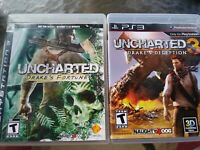 PS3 Uncharted Drakes Fortune & Uncharted 3 Drakes Deception Complete