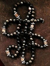 14K Gold and Frosted Charcoal and Glossy Black Agate Beads Necklace