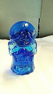 "4½""H MOSSERCOBALT BLUE Art GLASS Singing CHOIR ANGEL Figurine HEAVY"
