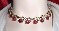 Vintage Coro Clear Rhinestone Red Raspberry Moonglow Stone Chorker Necklace