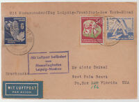 1951 East Germany DDR FFC First Flight Cover Leipzig to Moscow then to USA