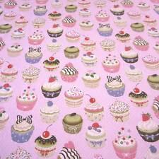 Stoff Meterware Baumwolle Törtchen Muffins Kuchen rosa Punkte Cupcake Neu