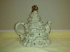 LENOX China Jeweled Christmas Tree Tea Pot Circa 2003