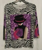 Peter Nygard Women's Top/Blouse Size L Combination Animal Print/Woman On Front &