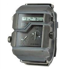 NEW DIESEL BLACK+GRAY,SILICONE,3,TRIPLE TIME ZONE,DIGITAL ANALOG WATCH DZ7178