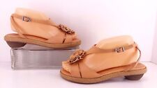 Sachelle Tara  Peach,  Rosebud Accent Leather,  Ankle Strap Sandals.  Size 7