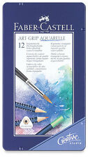 #114212 Tin of 12 Faber-Castell Art Grip Aquarelle Water Colour Pencils Crayons