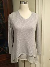NWT Lined Sweater Neiman Marcus Casual Couture - Gray V-neck- Size S