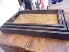 3 WOODEN RATTAN SERVING TRAYS BRAND NEW UK DISPATCH LARGE TRAY MEDIUM AND SMALL