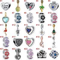 European Silver Enamel Flower Charms Beads CZ Pendant Fit 925 Sterling Bracelets