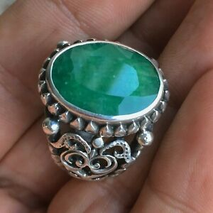 Sterling Silver Mens Ring Emerald natural gemstone Handmade Unique Jewelry sz10
