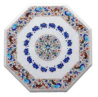 """22"""" White Marble Coffee Table Top Lapis Elephant & Peacock Inlay Home Decor W138"""