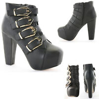 Ladies Shoes Heeled Booties High Heel Platform Zip Ankle Boots Size