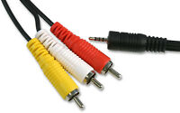 2.5mm 4 Pole Jack Plug to 3 x Phono Phonos AV out Lead TV Cable 3m Black
