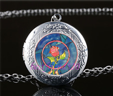 Beauty and the Beast Rose Glass Tibet Silver Chain Locket Pendant Necklace#R24